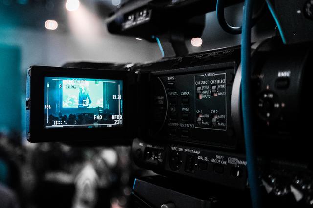 Blick in das Display einer Fernsehkamera