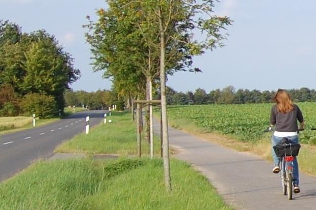 zwei Frauen auf Fahrrädern radeln eine Landstraße entlang.