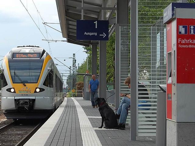 Eine S-Bahn fährt in einen Bahnhof ein.