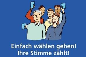 Zeichnung: fünf Erwachsene halten Stimmzettel in die Höhe