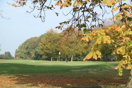 Golfplatz Birkhof von der Allee aus betrachtet mit Herbstlaub