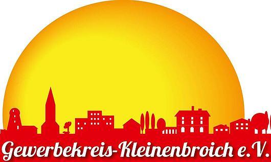 Logo des Gewerbekreises Kleinenbroich. Große gelbe Sonne im Hintergrund, im Vordergrund die Silouette von Kleinenbroich