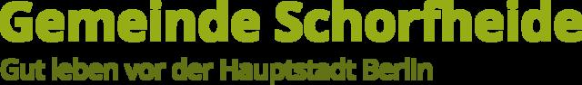"""Logo der Gemeinde Schorfheide: Schrifitzug """"Gut leben vor der Hauptstadt Berlin"""""""