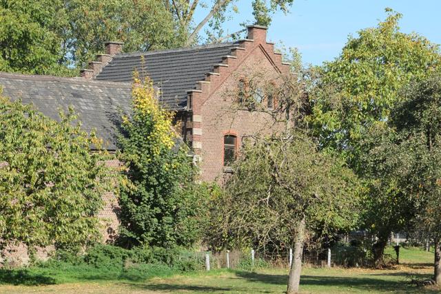 Haus Randerath hinter Bäumen voller Sommerlaub
