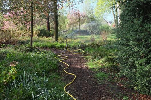 Wasserschlauch mit Verteilerdüse in der Korschenbroicher Stadtparkanlage