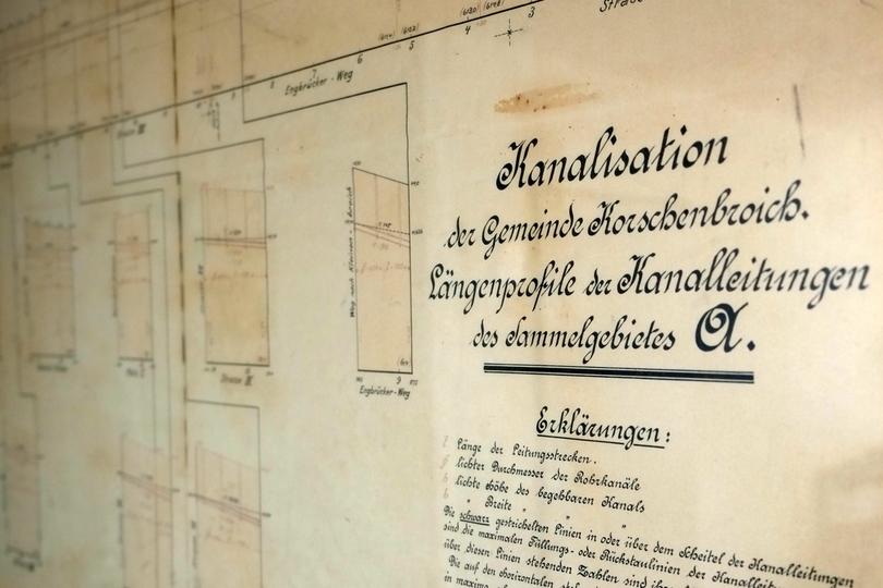 Hundert Jahre alter Kanalplan der damaligen Gemeinde Korschenbroich