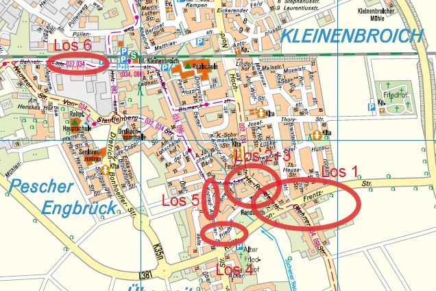 Karte mit markierten Abschnittsbereichen