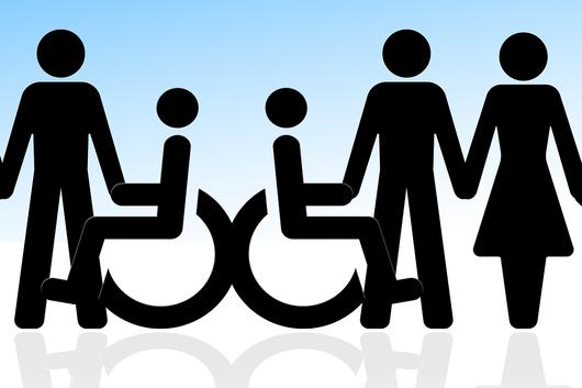 Piktogram von Männer, Frauen, Kinder und Rollstuhlfahrern
