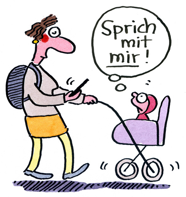 Baby im Kinderwagen fordert handyschauende Mutter auf, mit ihm zu sprechen